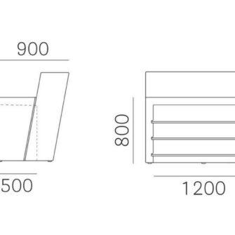 Bancone bar lineare Oblique misure